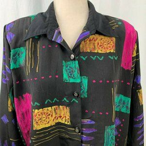 Vintage 80s Caliche Collection Shirt 14 Geometric